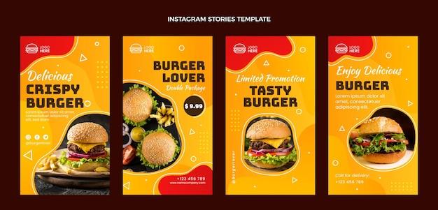 Plantilla de historias de instagram de comida plana