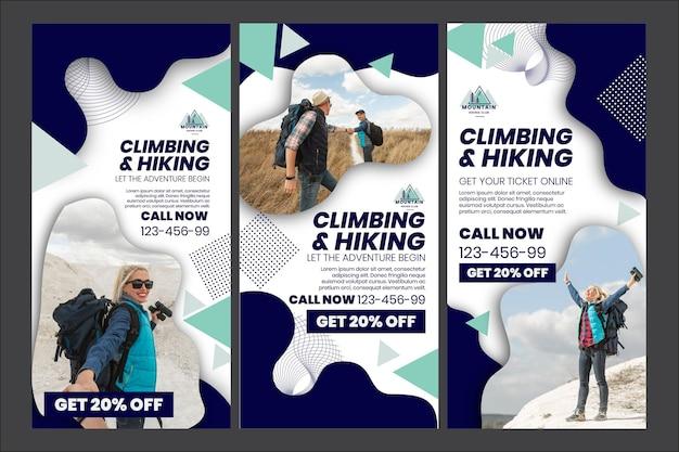 Plantilla de historias de instagram de escalada y senderismo