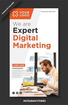 Plantilla de historias de instagram de marketing digital