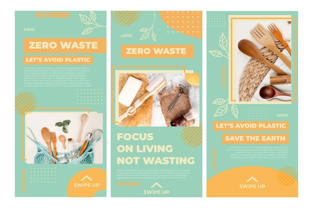 Plantilla de historias de instagram de medio ambiente cero residuos