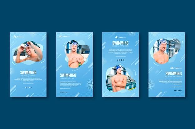 Plantilla de historias de instagram de natación