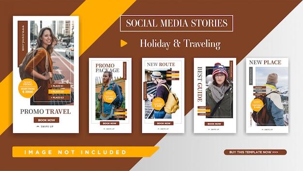 Plantilla de historias de instagram para promoción de viajes. elegante diseño de banner para promoción de redes sociales.
