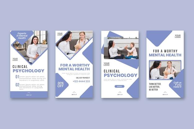 Plantilla de historias de instagram de psicología clínica