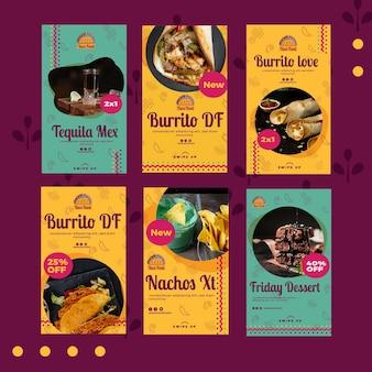 Plantilla de historias de instagram de restaurante de comida de taco