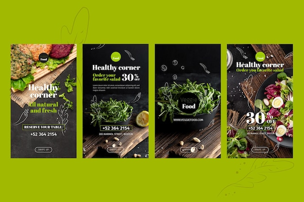 Plantilla de historias de instagram de restaurante saludable