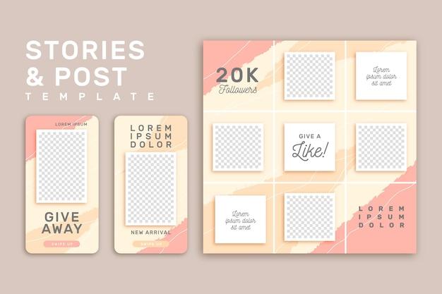 Plantilla de historias de instagram rosa y amarillo