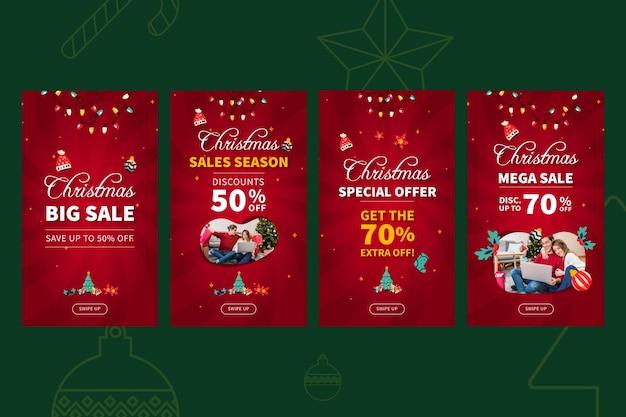 Plantilla de historias de instagram de ventas de feliz navidad