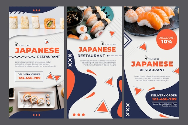 Plantilla de historias de redes sociales de restaurante japonés