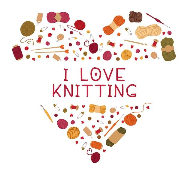 Plantilla de hobby de tejer cariñosa. composición en forma de corazón de accesorios de artesanía dispersos. agujas, carretes, ovillos de lana. estampado de camiseta amante de la costura