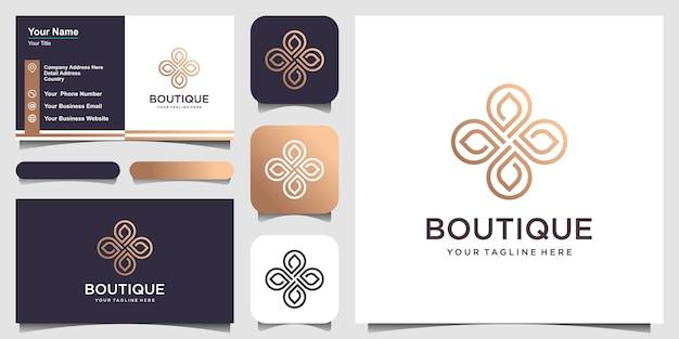 Plantilla de hoja de bucle de diseño de logotipo de flor.