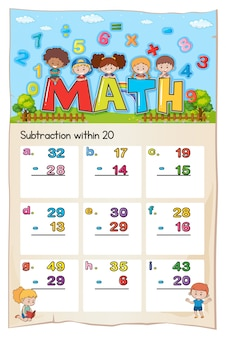 Plantilla de hoja de cálculo matemática para la resta dentro de los veinte