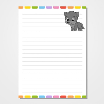 Plantilla de hoja para cuaderno, bloc de notas, diario. con la imagen de un lindo personaje.