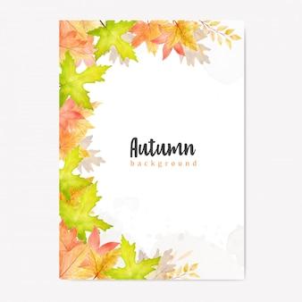 Plantilla de hojas de otoño acuarela