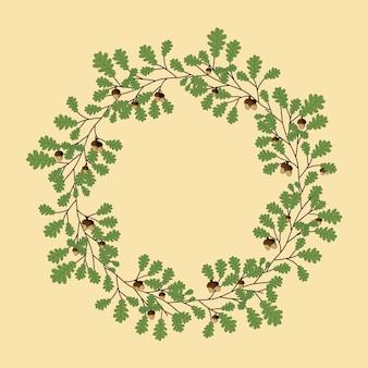 Plantilla de hojas de roble corona