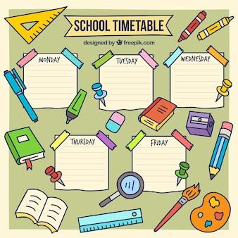 Plantilla de horario de colegio dibujado a mano