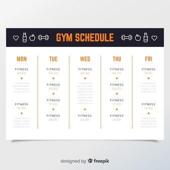 Plantilla de horario de entrenamiento