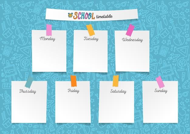 Plantilla de horario escolar para alumnos o alumnos. ilustración con trozos de papel en las etiquetas engomadas. días de la semana