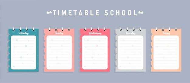 Plantilla de horario escolar para carteles, notas, libros, hojas de memoria utilizadas en educación junto con negocios