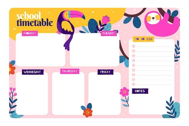 Plantilla de horario escolar creativo con ilustraciones