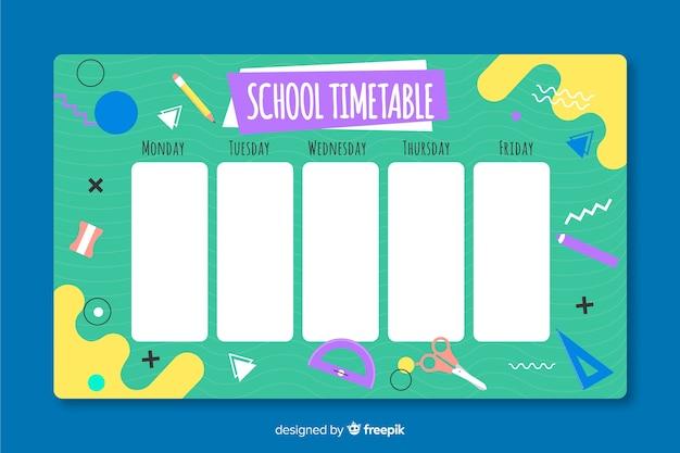 Plantilla de horario escolar dibujado a mano