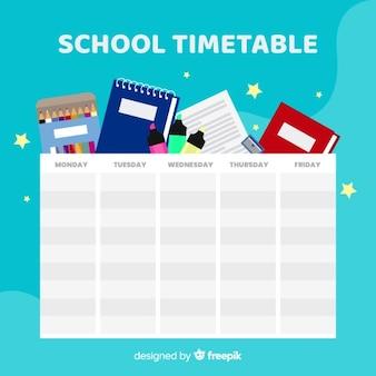 Plantilla de horario escolar en diseño plano