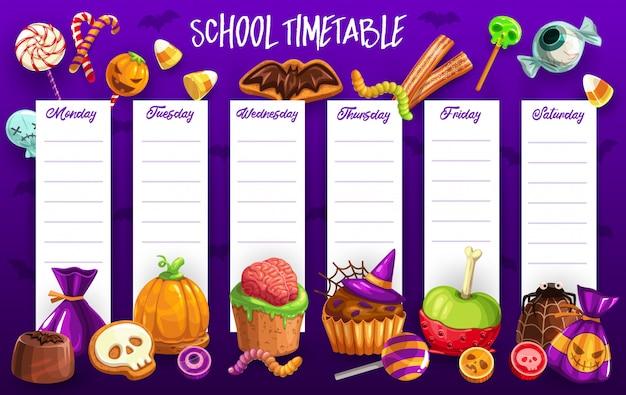 Plantilla de horario escolar con dulces de halloween