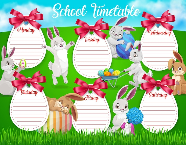 Plantilla de horario escolar de educación con conejitos de pascua de dibujos animados