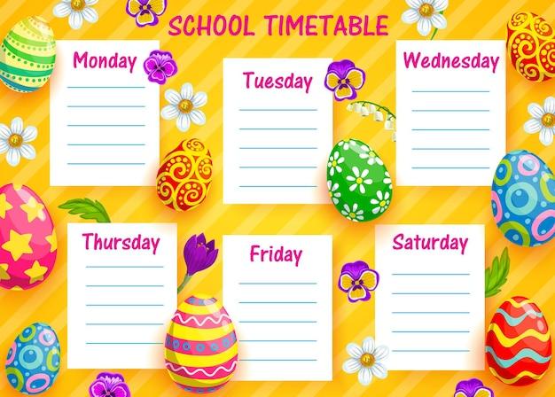 Plantilla de horario escolar de educación con huevos de pascua de dibujos animados