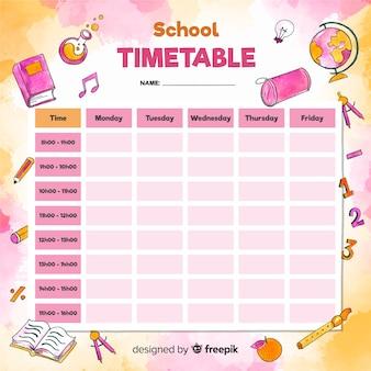 Plantilla de horario escolar estilo acuarela