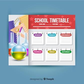 Plantilla de horario escolar estilo realista