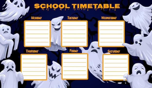 Plantilla de horario escolar, horario de clases semanales