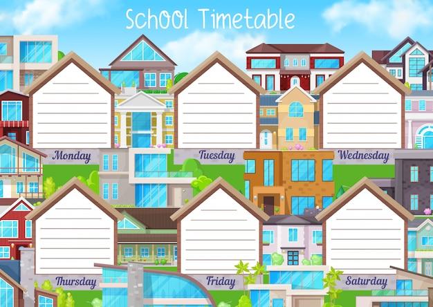 Plantilla de horario escolar, horario educativo