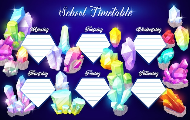 Plantilla de horario escolar con piedras preciosas o minerales.