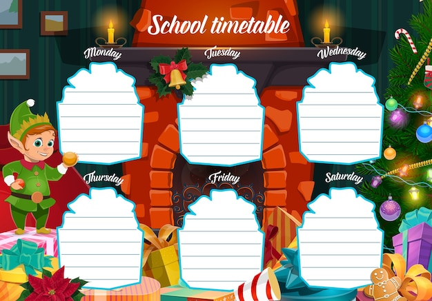 Plantilla de horario escolar de vacaciones de invierno con regalos de navidad y carácter elfo. ayudante de cuento de hadas de santa claus, regalos envueltos y árbol de navidad cerca de dibujos animados de la chimenea de casa. planificador semanal para niños