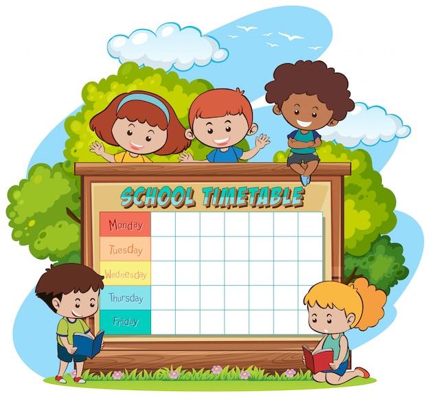 Plantilla de horario escolar