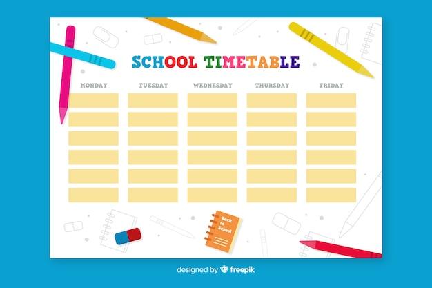 Plantilla de horario de escuela de estilo plano