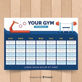 Plantilla de horario de gimnasio o fitness