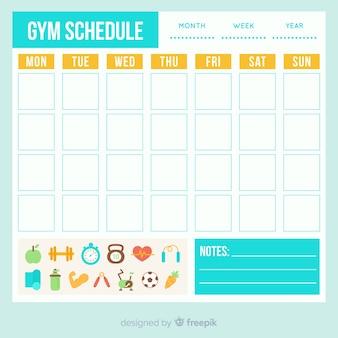 Plantilla de horario de gimnasio