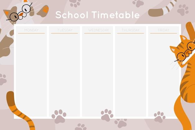 Plantilla de horario de regreso a la escuela