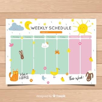 Plantilla de horario semanal bonito dibujado a mano