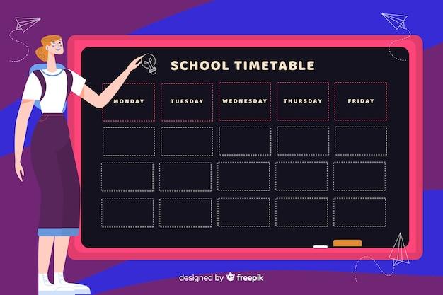 Plantilla de horario semanal escolar con personaje profesora
