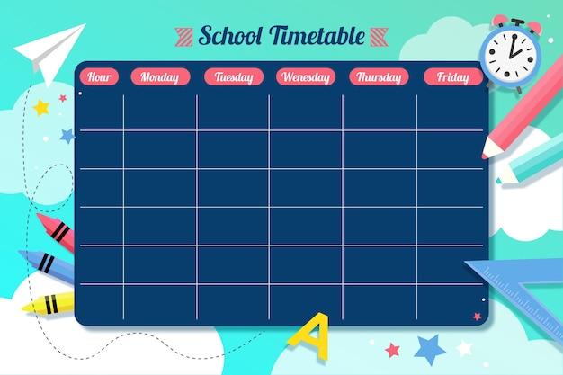 Plantilla de horarios para el regreso a la escuela