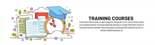 Plantilla horizontal de la bandera del concepto de la educación empresarial de los cursos de formación