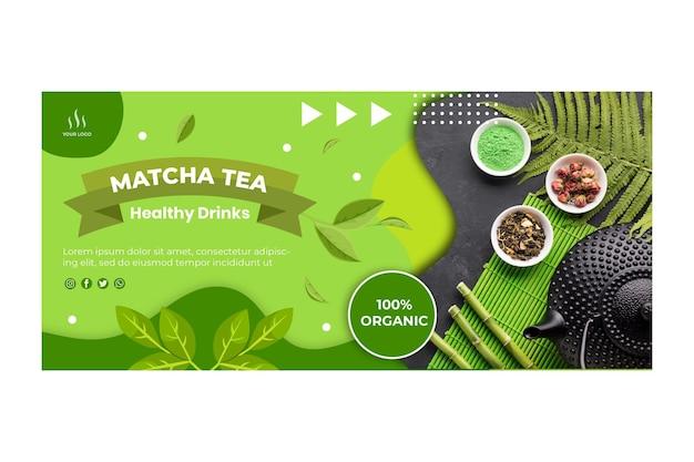 Plantilla horizontal de banner de té matcha