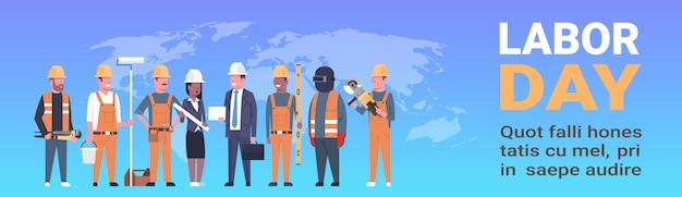 Plantilla horizontal del día del trabajo con personas de diferentes ocupaciones sobre el mapa mundial