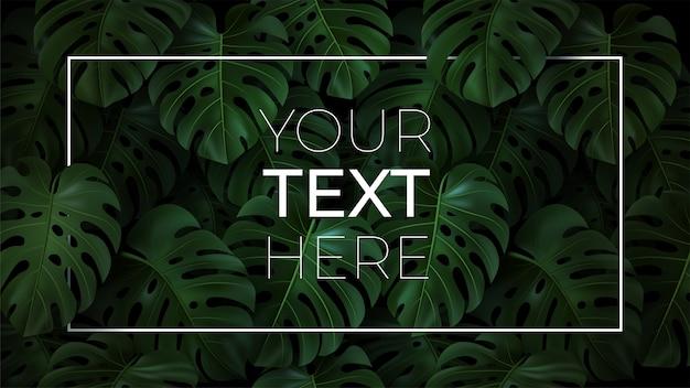 Plantilla horizontal con espacio de copia de su texto en marco sobre fondo oscuro