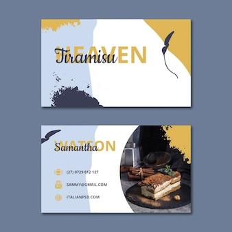 Plantilla horizontal de tarjeta de visita de doble cara de comida italiana