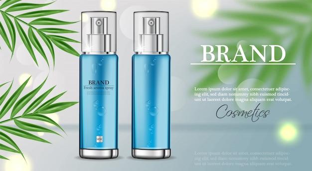 Plantilla humectante en spray de cosméticos.
