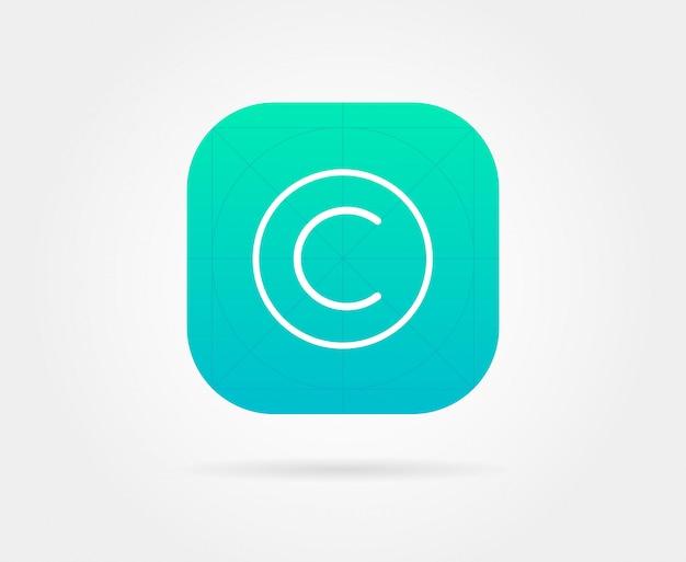 Plantilla de icono de aplicación con pautas. vector fresh color
