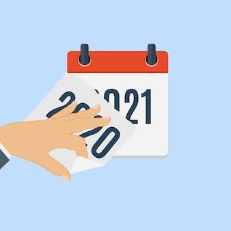Plantilla de icono diario plano de calendario de año nuevo 2021